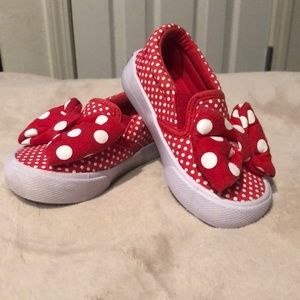 Minnie Mouse red and white slip on tennis shoes